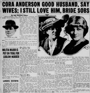 Cora Anderson Good Husband, Say Wives; I Still Love Him, Bride Sobs