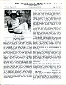 The Alpha Zeta Newsletter Vol. 3 No. 6 (May 15, 1987)
