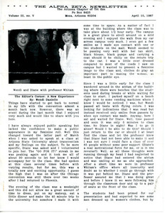 The Alpha Zeta Newsletter Vol. 3 No. 5 (April 15, 1987)
