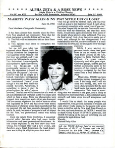 Alpha Zeta & A Rose News Vol. 4 No. 8 (July 15, 1988)