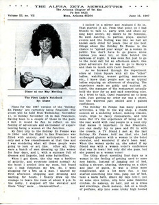 The Alpha Zeta Newsletter Vol. 3 No. 7 (June 15, 1987)