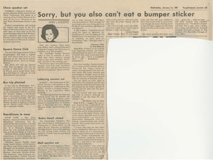 Sorry, But You Also Can't Eat a Bumper Sticker (January 14, 1981)
