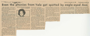 Even the Phonies from Yale get Spotted by Eagle-Eyed Ann (November 24, 1980)
