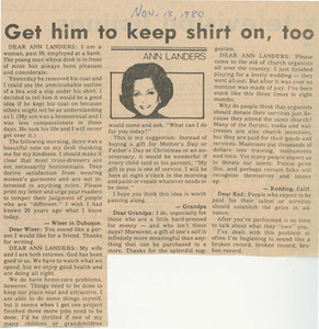 Get Him to Keep Shirt on, Too (November 18, 1980)