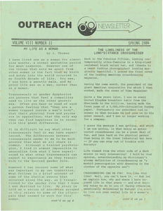 The Outreach Newsletter Vol. 8 No. 2 (Spring 1984)
