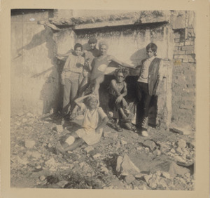 Kewpie, Brigitte, Margaret, and the Seapoint Girls Outside a Demolished Building