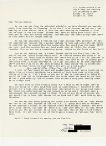 Letter from Joan Edwards, T.V. Entertainers Club President