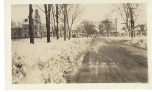 Corner of South and School Streets after a snow storm.