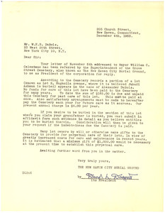 Letter from New Haven City Burial Ground to W. E. B. Du Bois
