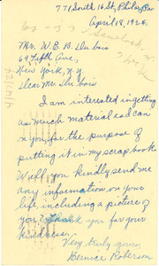 Letter from Bernice Roberson to W. E. B. Du Bois