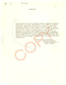 Cablegram from World Federation of Trade Unions to National Committee to Defend Dr. W. E. B. Du Bois and Associates in the Peace Information Center