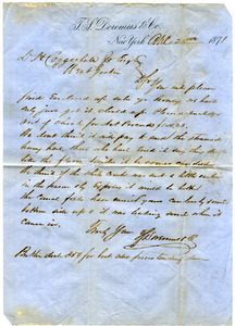 Letter from T. S. Doremus & Co. to D. H. Coggeshall