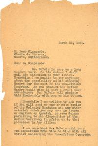 Letter from Jessie Fauset to Rene Claparede