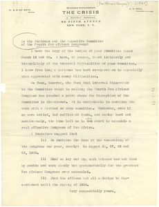Letter from W. E. B. Du Bois to the chairman and Executive Committee of the Fourth Pan African Congress