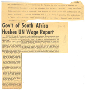 Gov't of South Africa hushes UN wage report