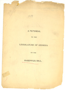 A memorial to the legislature of Georgia on the hardwick bill