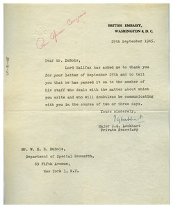 Letter from British Embassy to W. E. B. Du Bois