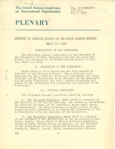 Addendum to verbatim minutes of the Fifth Plenary Session of the United Nations Conference on International Organization