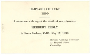 Announcement of the death of Herbert Croly