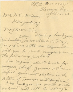 Letter from W. C. Wallace to W. E. B. Du Bois