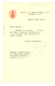 Letter from C. Leslie Hale to George Padmore