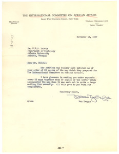 Letter from International Committee on African Affairs to W. E. B. Du Bois