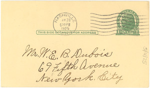 Letter from H. F. Kimbro to W. E. B. Du Bois