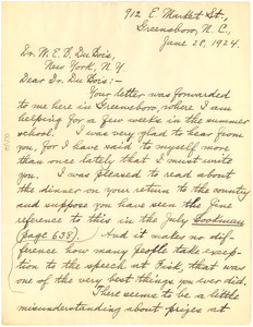 Letter from Benjamin Brawley to W. E. B. Du Bois