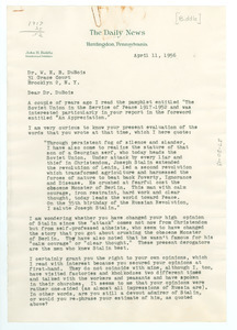 Letter from John H. Biddle to W. E. B. Du Bois