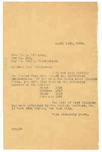 Letter from W. E. B. Du Bois to E. M. Williams