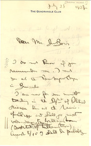 Letter from Roberto Nichols to W. E. B. Du Bois