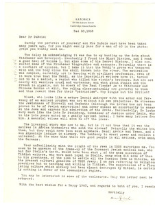 Letter from A. A. Roback to W. E. B> Du Bois