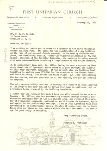 Letter from First Unitarian Church of Los Angeles to W. E. B. Du Bois