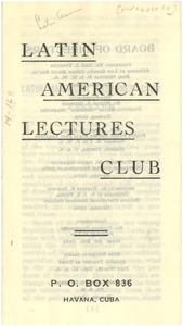 Latin American Lectures Club leaflet