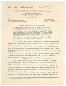 Committee Against Jim Crow in Military service and Training press release