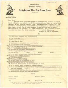 Knights of the Ku Klux Klan questionnaire