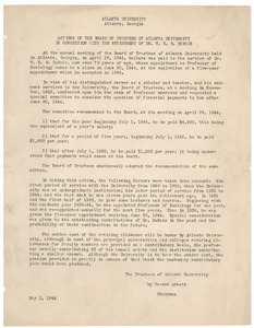 Actions of the board of trustees of Atlanta University in connection with the retirement of Dr. W. E. B. Du Bois