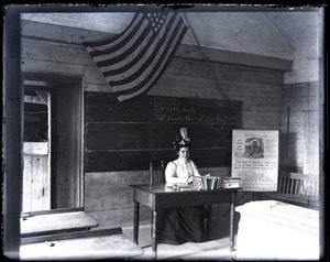 Alburgh Stone School house: teacher at her desk