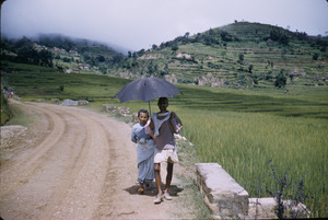 Couple on road in rural Nepal