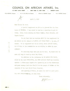 Letter from Dr. Alphaeus Hunton to W. E. B. Du Bois