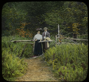 Entrance to trail, Wachusett (couple walking on fern-flanked path)