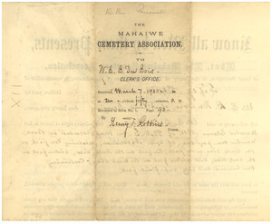 Burial agreement between W. E. B. Du Bois and Mahaiwe Cemetery Association