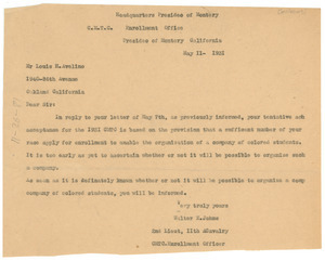 Letter from U.S. War Dept. Citizens' Military Training Camps to Louis H. Avelino