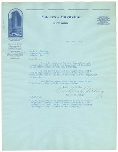 Letter from the Editor of Success Magazine to W. E. B. Du Bois