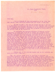 Letter from Robert Broadhurst to National Congress of British West Africa