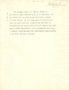 1933 Spingarn Medal announcement