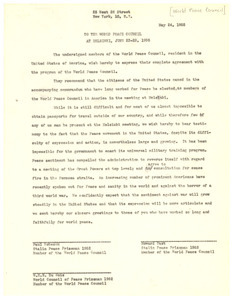 Letter from W. E. B. Du Bois, Paul Robeson, and Howard Fast to World Peace Council at Helsinki