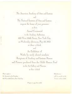 American Academy of Arts and Letters Annual Ceremonial invitation and program