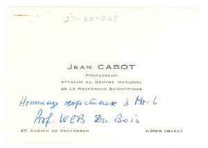 Jean Cabot business card