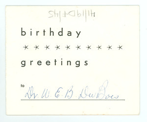 Birthday card from American Committee for Protection of Foreign Born to W. E. B. Du Bois
